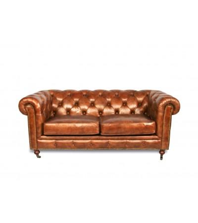 "Canapé Chesterfield ""The First"" cuir brun clair patiné"