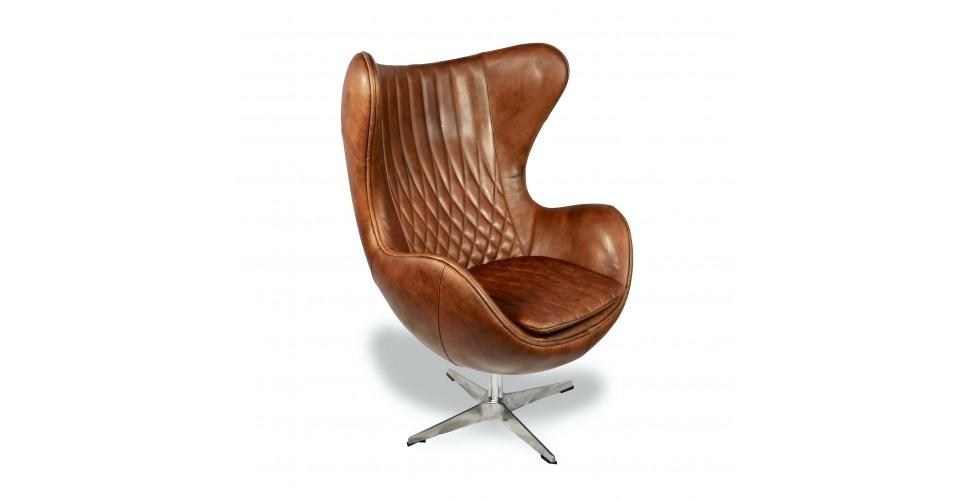 """Fauteuil """"Egg"""" tout cuir """"Light Brown"""", style années 60"""