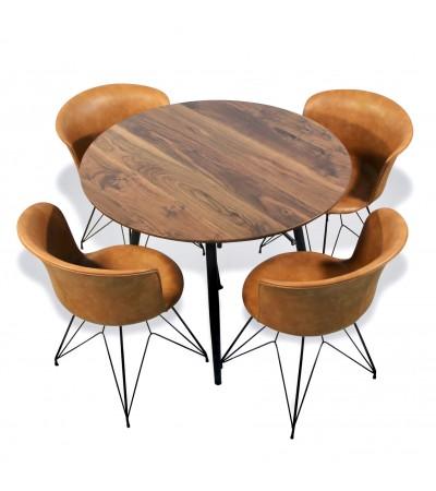 Runder Esstisch mit 4 braunen Leder Stühlen