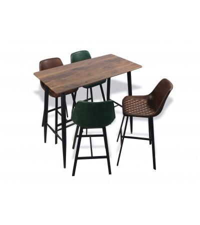 Table de repas haute avec 4 chaises cuir brun