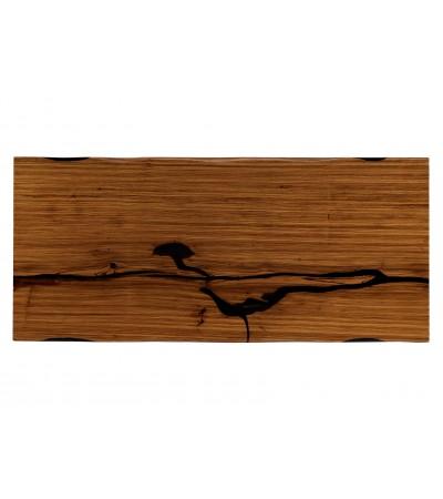 """Table à diner """"Santiago"""" en bois Zebra et résine noire, 207 cm"""