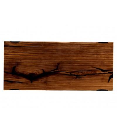 """Table à diner """"Pemba"""" en bois précieux Zebra et résine noire, 225 cm"""