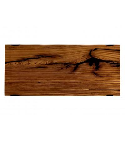 """Table à diner """"Bioko"""" en bois Zebra massif et résine noire, 225 cm"""