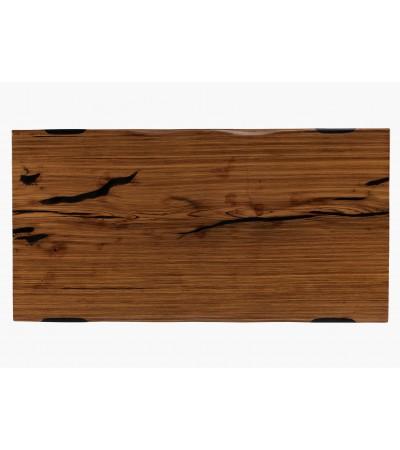 """Table à manger """"Aldabra"""" en bois Zebra naturel et époxy noir, 195 cm"""
