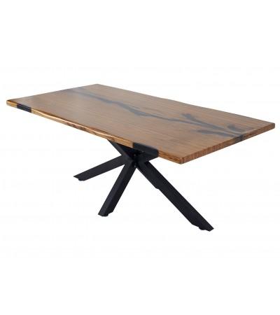 """Table à manger """"Brava"""" en bois Zebra et époxy noir, 195 cm"""