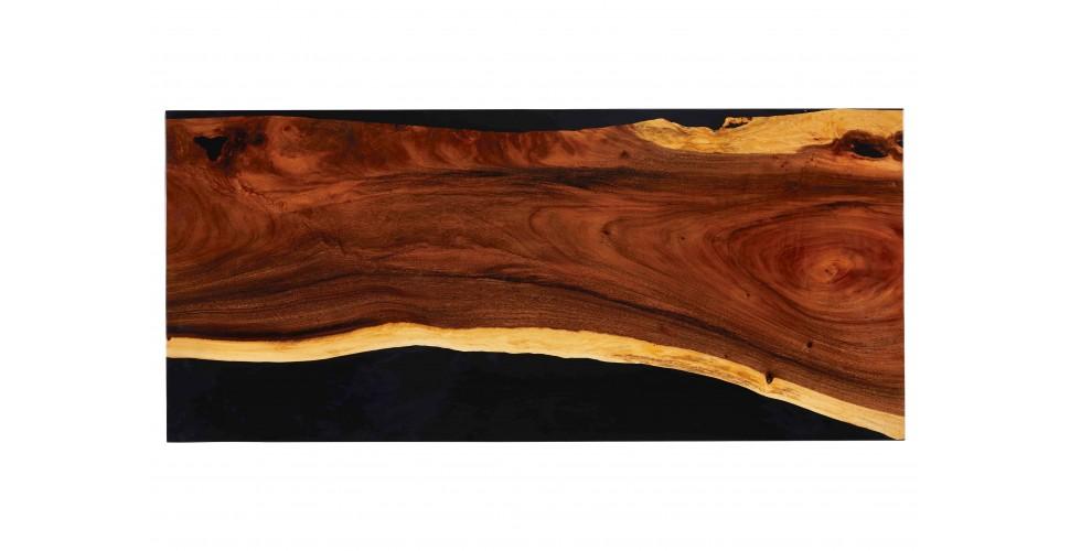 """Table à diner """"Granit"""" en bois de Suar et résine noire, 200 cm"""