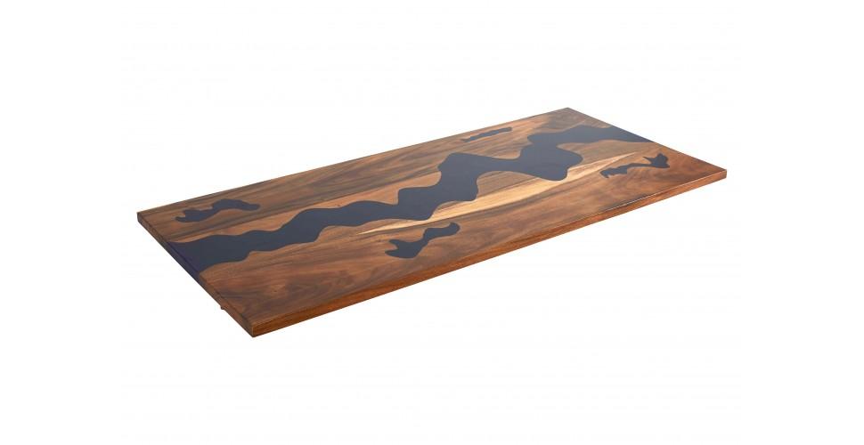 """Table """"Indigo"""" en bois et résine époxy bleue 200 cm"""