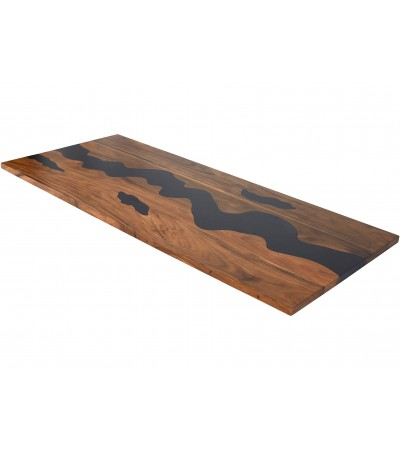 """Table résine époxy noir et bois """"Noir de Crimée"""" , 230 cm"""