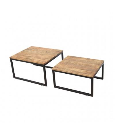 """Table basse gigogne en bois et métal """"Madurai"""""""