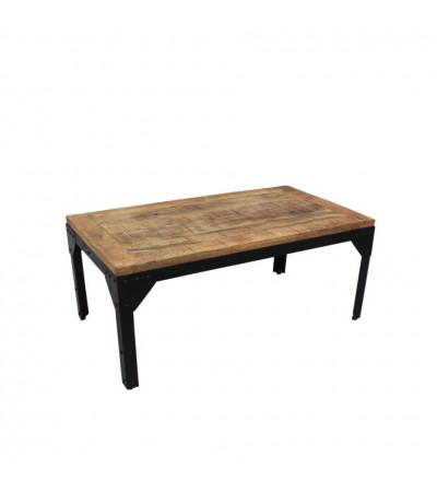 """Table basse """"Rivets"""" bois patiné et métal style industriel"""
