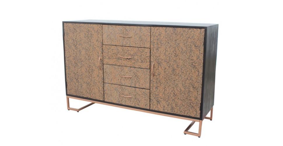 "Kommode in Kupfer Metall und Holz Industriedesign ""Darjeeling"""