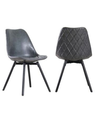 """2 x Chaises cuir gris vintage """"Cambridge"""""""
