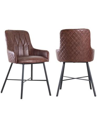 "2 x Chaises cuir marron vintage capitonnées ""Tudor"""