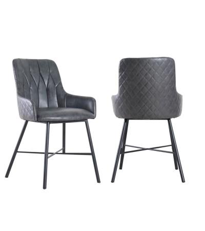 """2 x Chaises cuir gris vintage capitonnées """"Tudor"""""""