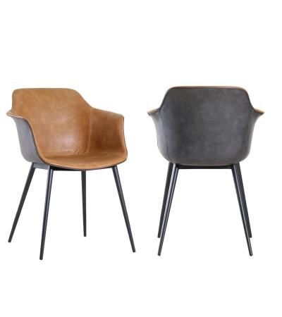 """2 x Chaises bicolores cuir marron clair et gris vintage """"Winchester"""""""