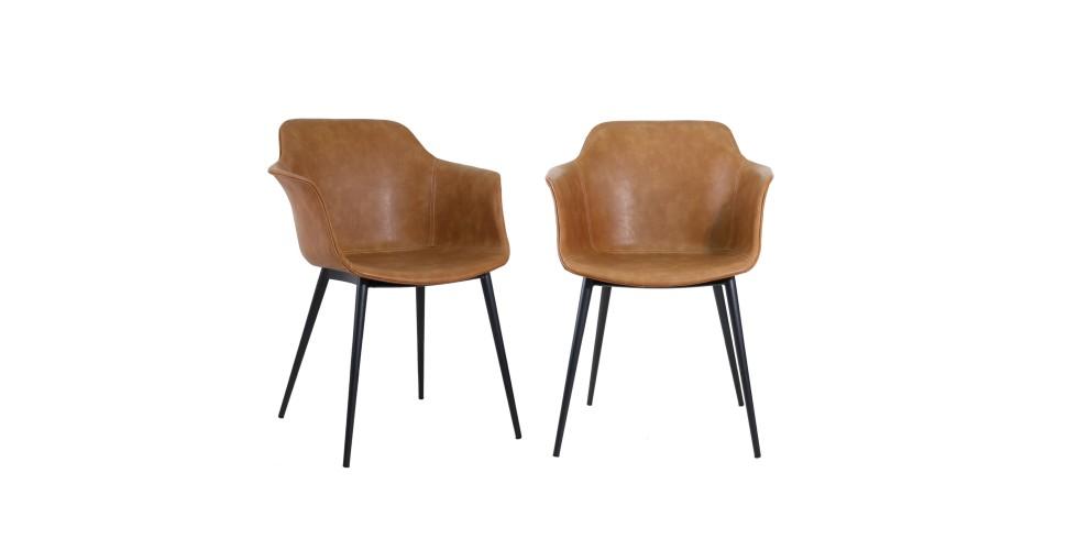 "2 x Chaises cuir marron clair vintage ""Winchester"""