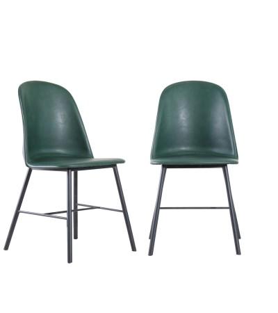 "2 x vintage grüne Lederstühle ""Sandrigham"""