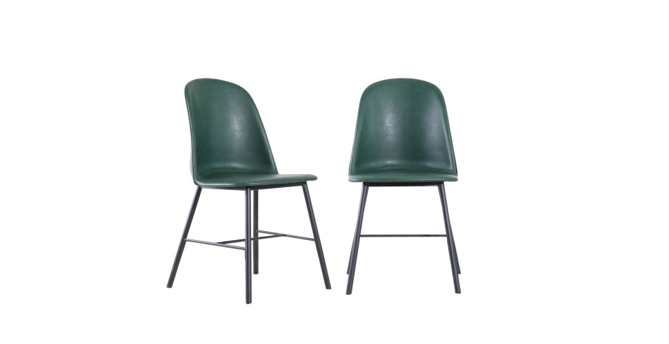 "2 x Chaises cuir vert vintage ""Sandrigham"""