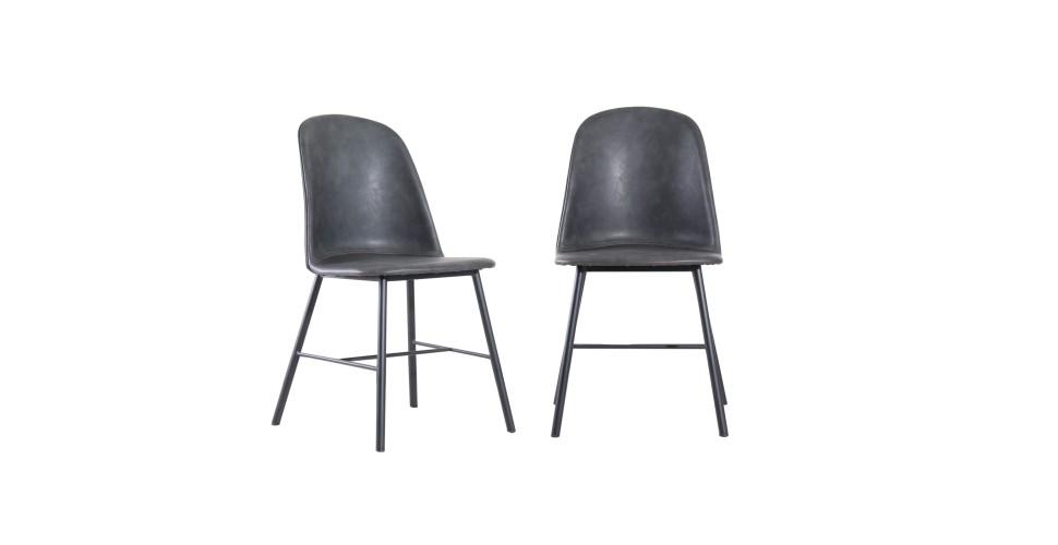 "2 x Chaises cuir gris vintage ""Sandrigham"""