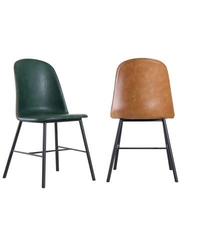 """2 x Chaises bicolores cuir marron clair et vert vintage """"Sandrigham"""""""