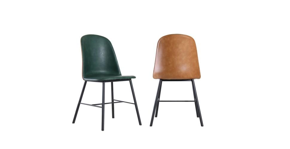"""2 x zweifarbige hellbraune und vintage grüne Lederstühle """"Sandrigham"""""""