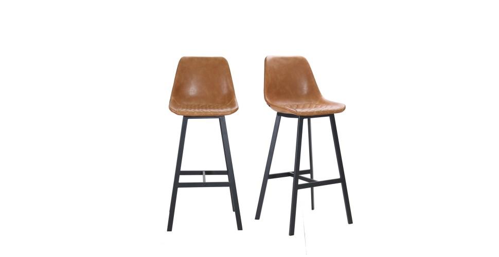 """2 x Chaises de bar en cuir marron clair et pieds métal """"Yorkshire"""""""