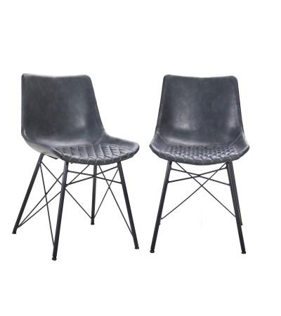 """2 Chaises capitonnées en cuir gris """"Buckingham"""""""