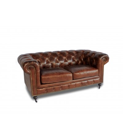 "Canapé Chesterfield Cuir vintage Marron 2 places ""Windsor"""