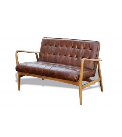 """2-Sitzer Sofa aus braunem Leder und Holz """"Evan"""""""