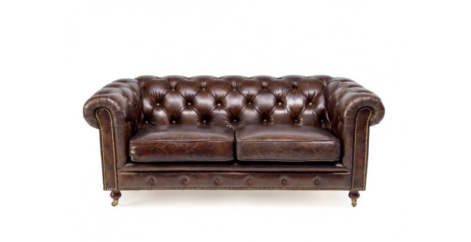 "Canapé Chesterfield Cuir vintage Marron 2 places ""The First"""