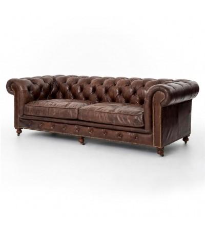 """Chesterfield Sofa """"The First"""" Braunes Leder """"Dark Brown"""""""