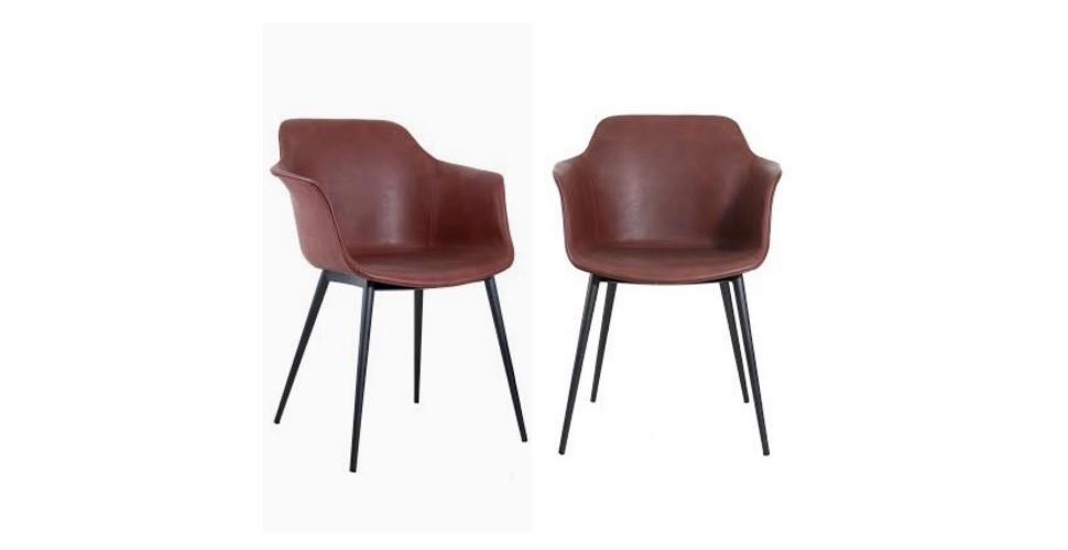 "2 x Chaises cuir marron vintage ""Winchester"""