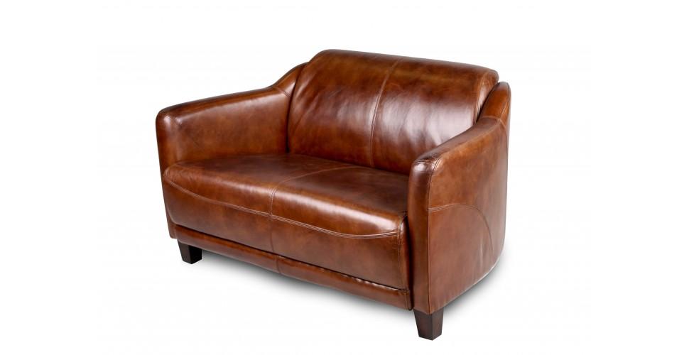 "Canapé Club 2 places en cuir brun ""Alfred"""