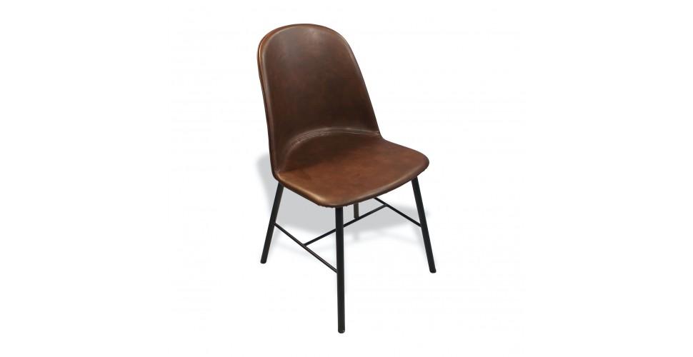 """4 x Chaises cuir marron vintage """"Sandrigham"""", les dernières !"""