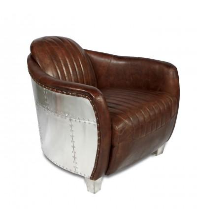 "Flieger-Sessel aus gealtertem braunem Leder und Aluminium ""Amy"""