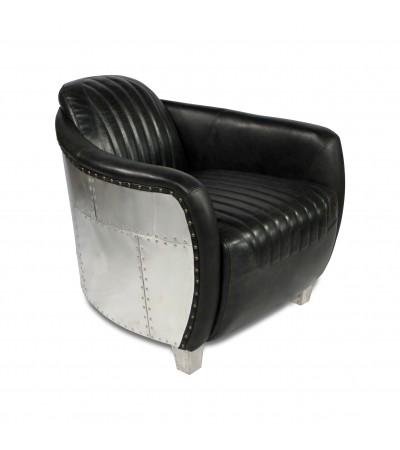 """Fauteuil aviateur cuir noir vintage et métal """"Amy"""""""