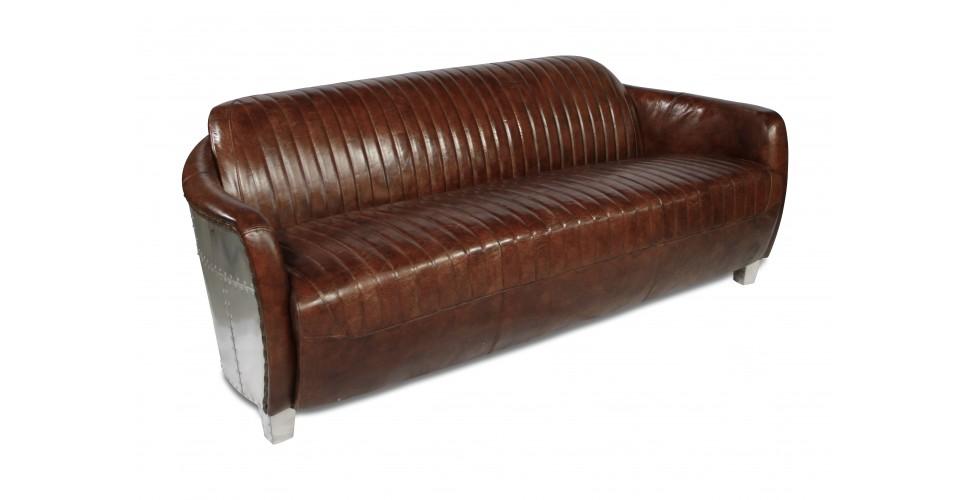 """Canapé Aviateur cuir marron vintage 3 places """"Amy"""""""