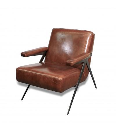 "Fauteuil Club en cuir marron design 50's ""Dave"""