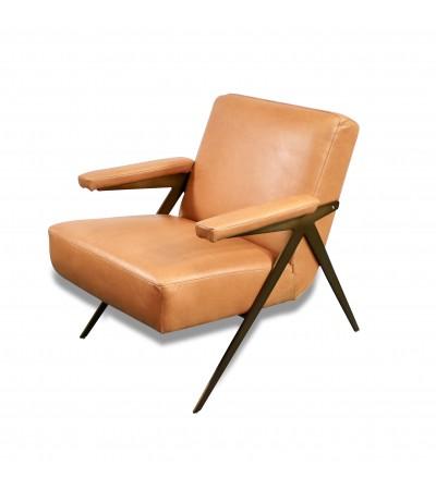 """Fauteuil Club en cuir brun clair style 50's """"Dave"""""""